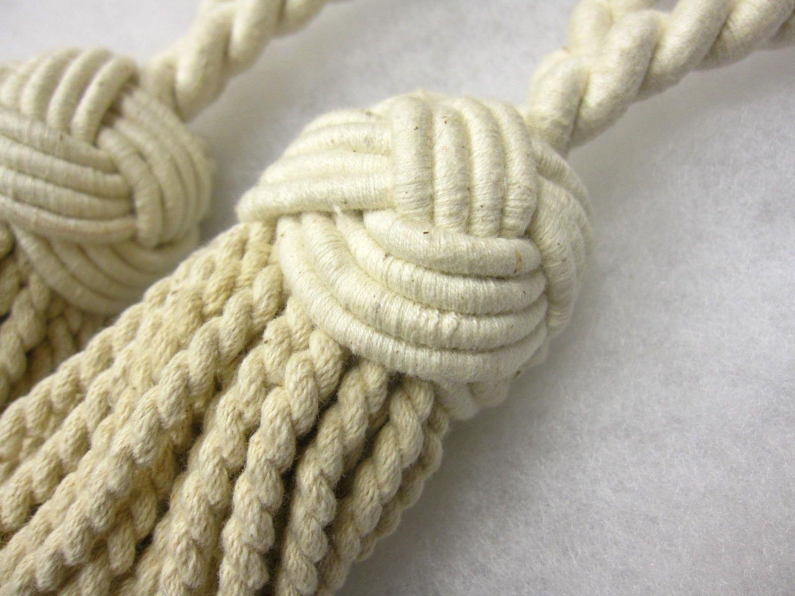 2 Turks head curtain tassel tiebacks natural cotton tie backs fabric